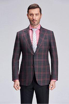Peak Lapel Patch Pocket Red Plaid Grey Suit Blazer for Men_1