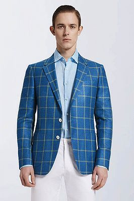Stylish Blended Plaid Casual Blue Blazer Jacket for Prom_1