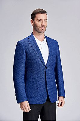 Casual Chic Dots Patch Pocket Fashionable Blue Blazer Jacket for Men_2