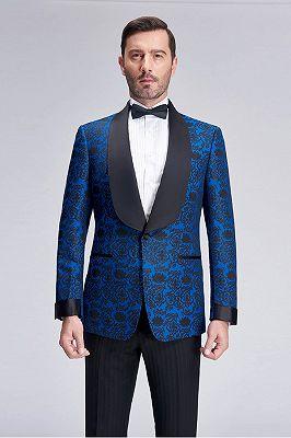 Black Shawl Lapel Blue Jacquard Wedding Suit Blazers for Men_1