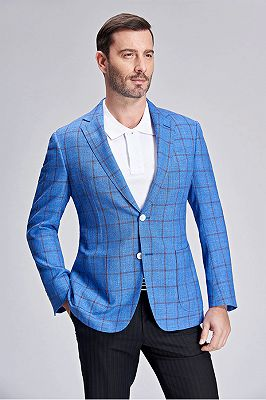 Brown Plaid Bright Blue Casual Blazer Jacket with Patch Pocket_3