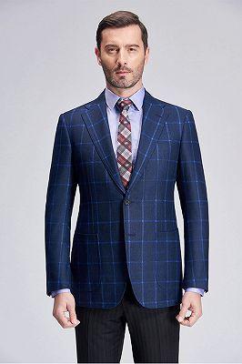 New Blue Plaid Patch Pocket Navy Blazer Jacket for Suit_1