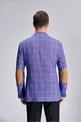 Modern Plaid Violet Purple Elbow Patch Blazer Jacket for Men_4