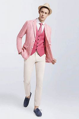 Fashionable Pink Casual Linen Blazer Jacket for Prom_3