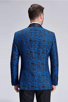 Black Shawl Lapel Blue Jacquard Wedding Suit Blazers for Men_3