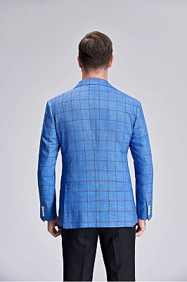 Brown Plaid Bright Blue Casual Blazer Jacket with Patch Pocket_4