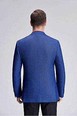Casual Chic Dots Patch Pocket Fashionable Blue Blazer Jacket for Men_3