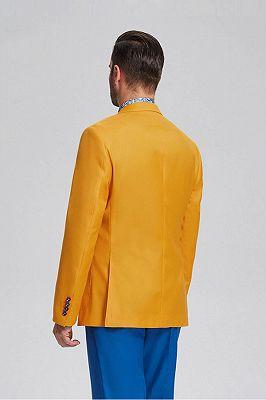 Ginger Yellow Peak Lapel Patch Pocket Fashionable Blazer Jacket for Men_3