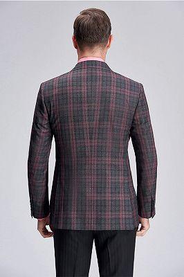 Peak Lapel Patch Pocket Red Plaid Grey Suit Blazer for Men_4