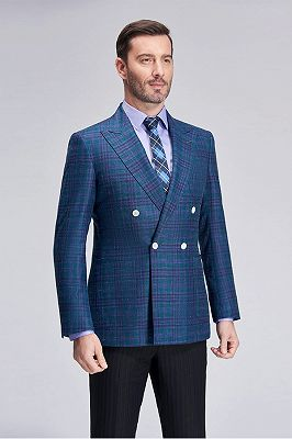 Formal Peak Lapel Plaid Double Breasted Blue Mens Blazer Jacket for Business_3