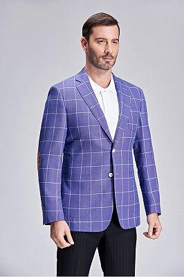 Modern Plaid Violet Purple Elbow Patch Blazer Jacket for Men_2