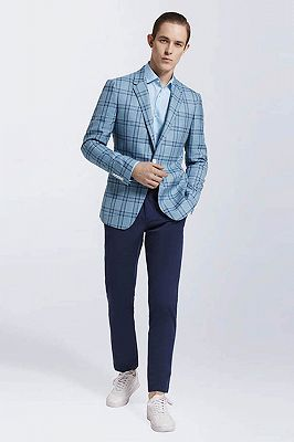 Modern Light Blue Plaid Suit Blazer Jacket Casual for Prom_3