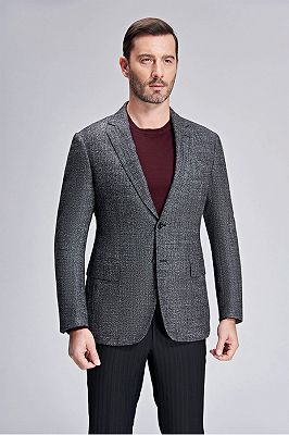 Classic Grey Blazer for Men Formal Business Jacket for Casual_2