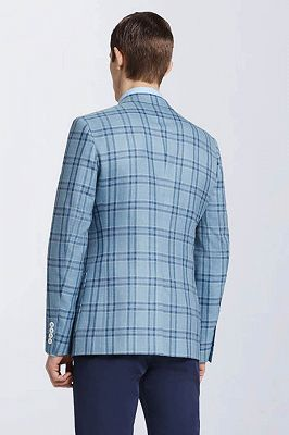 Modern Light Blue Plaid Suit Blazer Jacket Casual for Prom_2