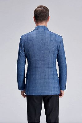 Peak Lapel Plaid Blazer for Men   Modern Blue Blazer Jacket New_4