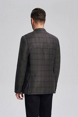 Peak Lapel Dark Grey Cashmere Blended New Blazer Jacket for Men_3