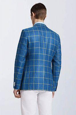 Stylish Blended Plaid Casual Blue Blazer Jacket for Prom_2