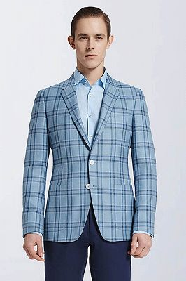 Modern Light Blue Plaid Suit Blazer Jacket Casual for Prom_1