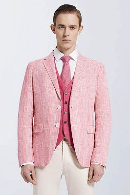 Fashionable Pink Casual Linen Blazer Jacket for Prom_1