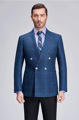 Formal Peak Lapel Plaid Double Breasted Blue Mens Blazer Jacket for Business_2