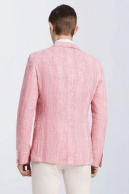 Fashionable Pink Casual Linen Blazer Jacket for Prom_2