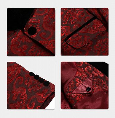 Damask Red Floral Prom Suits | Three Pieces Shawl Lapel Tuxedo Online_4