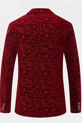 Burgundy Floral Velvet Blazer   Fashion Suit Sizes for Men_2
