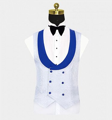 White Jacquard Tuxedo with Blue Shawl Lapel | Custom Three Pieces Suits Sale_4