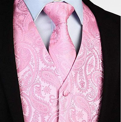 Fashion Silk Light Pink Paisley Mens Vest for Prom Online_3