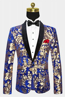 Royal Blue Velvet Tuxedo Jacket | Gold Sequins Men Suit for Prom