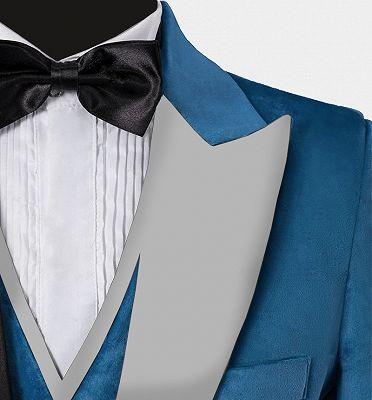 Cerulean Blue Velvet Tuxedo   Three Pieces Mens Skinny Fit Suits_3