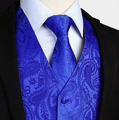Royal Blue Paisley Mens Vest_3