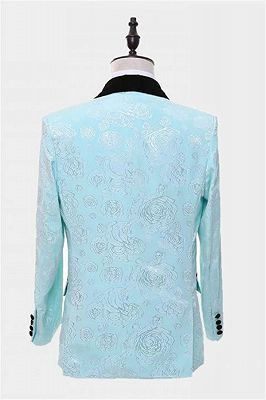 Floral Turquoise Tuxedo with Shawl Lapel | Tailored Three Pieces Prom Suits_2