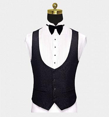 Business Black Men Suits | Formal Three Pieces Jacquard Wedding Suits_3