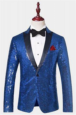 Royal Blue Sequin Men Suits | One Piece Cheap Blazer with Peak Lapel_1