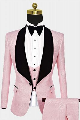 Unique Pink Jacquard Tuxedo Online | Tailored Prom Suits for Guys_1