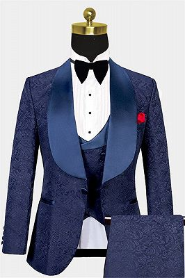 Navy Blue Three Pieces Tuxedo Online| Jacquard Bespoke Men Suits_1