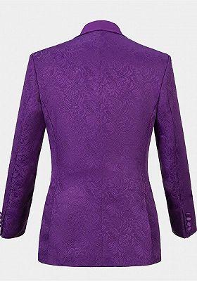 Vintage Jacquare Violet Men Suits | 3 Pieces Prom Suits_2
