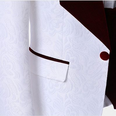 White Jacquard Men Suits with Burgundy Lapel | Floral Tuxedo_5