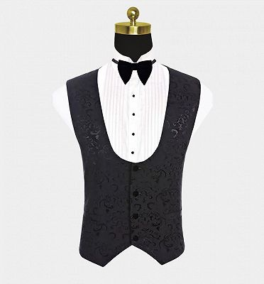 Tailored Black Jacquard Men Suits with 3 Pieces | Unique Dinner Suits for Prom_3