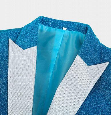 Glitter Baby Blue Peak Lapel Blazer | Unique Sequin Men Suits Cheap Online_3