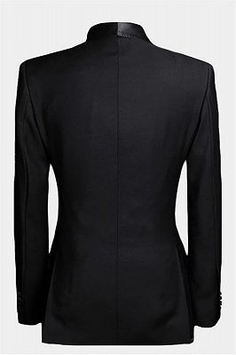 Black Double Breasted Wedding Tuxedo | Luxury Business Men Suits with 2 Pieces_2