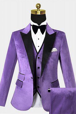 Iris Purple Velvet Tuxedo with Peak Lapel | Three Pieces Slim Fit Men Suits for Prom_1