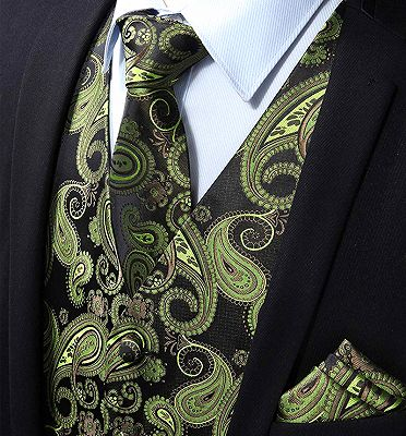 Stylish Olive Green Paisley Mens Vest Set_3