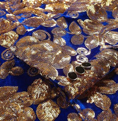 Royal Blue Velvet Tuxedo Jacket | Gold Sequins Men Suit for Prom_3