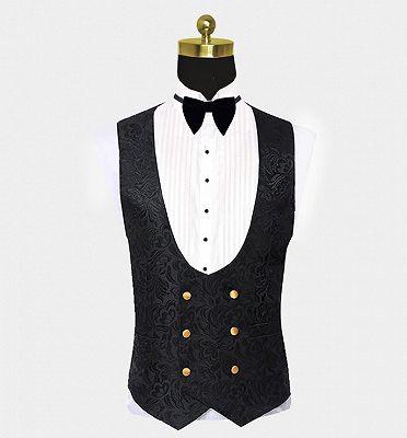 Black Jacquard Tuxedo with Gold Shawl Lapel | Three Pieces Men Suits_3