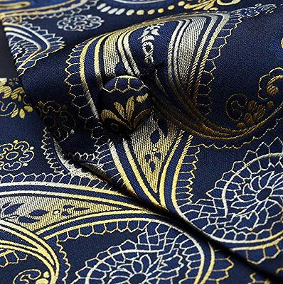 Tailored Navy Blue And Gold Paisley Prom Men Suits Vest Set_4
