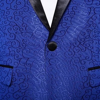 Royal Blue Jacquard Tuxedo Jacket | Stylish Slim Fit Blazer for Men_5