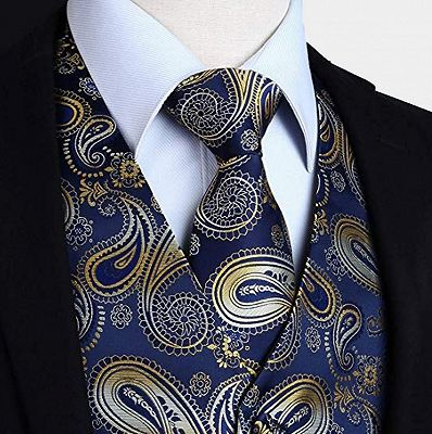 Tailored Navy Blue And Gold Paisley Prom Men Suits Vest Set_3