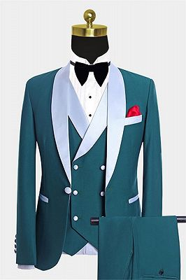 Teal Blue Tuxedo with Light-colored Trim | Formal Business Men Suits_1